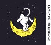 spaceman stands on crescent... | Shutterstock .eps vector #765278755