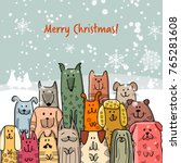 christmas card with happy dogs... | Shutterstock .eps vector #765281608