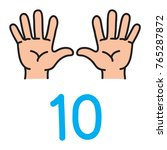 kid's hands showing the number... | Shutterstock .eps vector #765287872