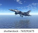 military plane over the sea 3d... | Shutterstock . vector #765292675