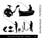 silhouette collection   fishing | Shutterstock .eps vector #76530211