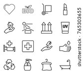 thin line icon set   heart  bio ...   Shutterstock .eps vector #765303655