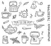 hand drawn doodle tea time icon ... | Shutterstock .eps vector #765307996