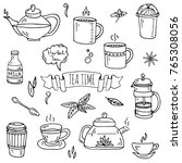 hand drawn doodle tea time icon ... | Shutterstock .eps vector #765308056