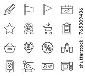 thin line icon set   marker ... | Shutterstock .eps vector #765309436