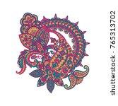 damask paisley ornament.... | Shutterstock .eps vector #765313702