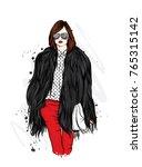 beautiful stylish girl in a fur ...   Shutterstock .eps vector #765315142
