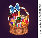 wicker present basket full of... | Shutterstock .eps vector #765318832