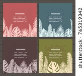 set of cards on tropical jungle ... | Shutterstock .eps vector #765319342