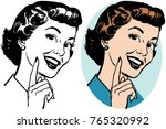 a smiling woman pointing up. | Shutterstock .eps vector #765320992