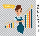 woman financier standing near... | Shutterstock .eps vector #765321346