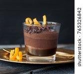layered chocolate dessert with... | Shutterstock . vector #765326842