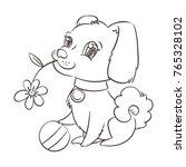 happy golden cartoon puppy.... | Shutterstock .eps vector #765328102