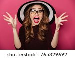 picture of young shocked lady... | Shutterstock . vector #765329692