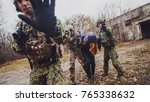 soldiers with weapon captured... | Shutterstock . vector #765338632