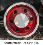 wheel of an old locomotive.... | Shutterstock . vector #765344746