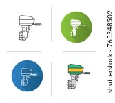 outboard boat motor icon. flat... | Shutterstock .eps vector #765348502