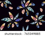 embroidery colorful seamless...   Shutterstock .eps vector #765349885