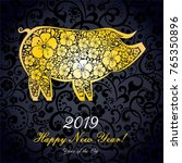2019 happy new year greeting... | Shutterstock . vector #765350896