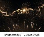 2018 new year golden light... | Shutterstock .eps vector #765358936