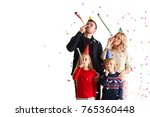 family blowing party trumpets...   Shutterstock . vector #765360448