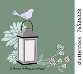 lantern with flowers and bird   ...