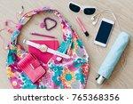 smartphone sunglasses wallet...   Shutterstock . vector #765368356