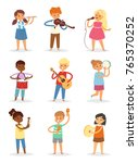 Music Kids Vector Cartoon...