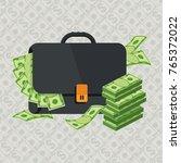 black briefcase. money bag icon ... | Shutterstock .eps vector #765372022