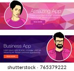 vector banner with faces of guy ... | Shutterstock .eps vector #765379222
