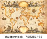 a large ancient map of the... | Shutterstock . vector #765381496
