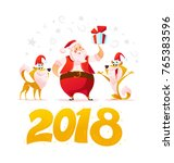 vector flat merry christmas...   Shutterstock .eps vector #765383596