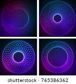 set circular wireframe mesh...   Shutterstock .eps vector #765386362