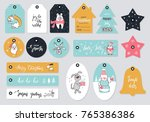 set of christmas tags with cute ... | Shutterstock .eps vector #765386386