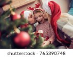 beautiful family in christmas... | Shutterstock . vector #765390748