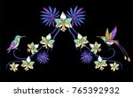 tropical embroidery flowers ... | Shutterstock .eps vector #765392932