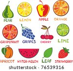 fruits set  isolated on white... | Shutterstock .eps vector #76539316