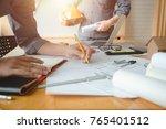 hands of architect or engineer... | Shutterstock . vector #765401512