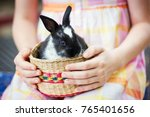girl holds a bunny in a basket  | Shutterstock . vector #765401656