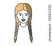 female face with braided hair... | Shutterstock .eps vector #765411232
