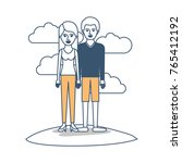 couple in color sections... | Shutterstock .eps vector #765412192