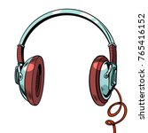 stylish audio headphones... | Shutterstock .eps vector #765416152