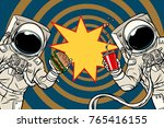two astronauts are eating lunch ... | Shutterstock .eps vector #765416155