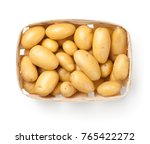 raw potatoes in basket isolated ... | Shutterstock . vector #765422272