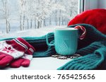 winter background. cup with... | Shutterstock . vector #765425656