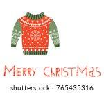 cute vector merry christmas... | Shutterstock .eps vector #765435316