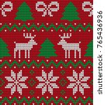 knitted christmas and new year... | Shutterstock .eps vector #765436936