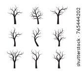 set black winter naked trees.... | Shutterstock .eps vector #765444202