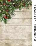 christmas evergreen branches... | Shutterstock . vector #765449056
