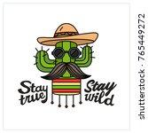 brutal cactus. creative design... | Shutterstock .eps vector #765449272